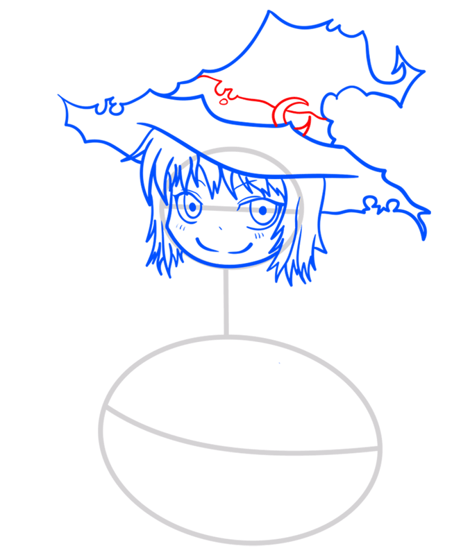 Learn easy to draw how to draw a witch drawing step 06