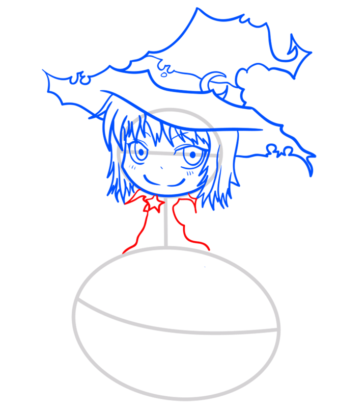 Learn easy to draw how to draw a witch drawing step 07