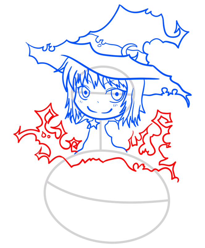 Learn easy to draw how to draw a witch drawing step 08