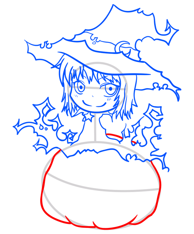 Learn easy to draw how to draw a witch drawing step 09