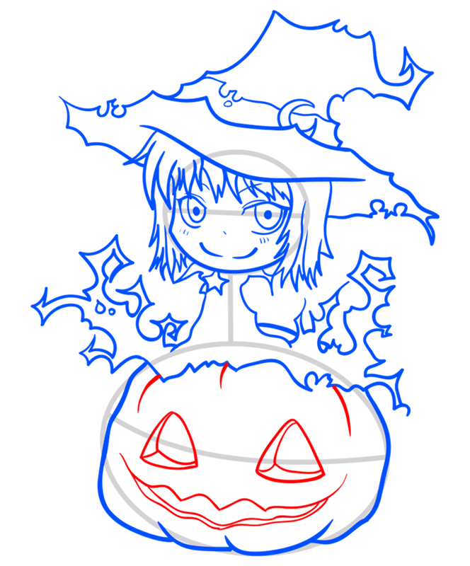 Learn easy to draw how to draw a witch drawing step 10