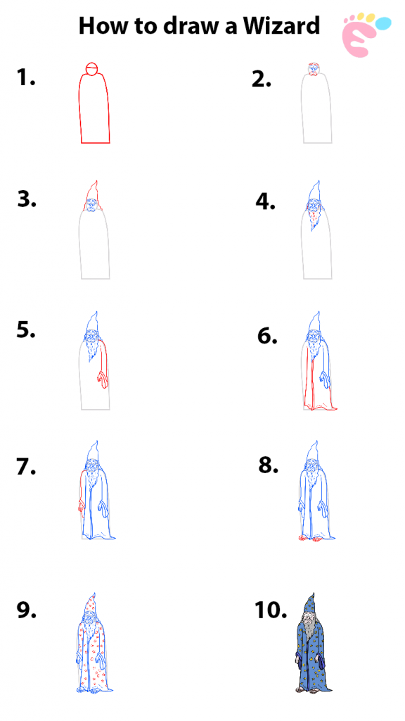 Learn easy to draw how to draw a wizard drawing step 00 576x1024