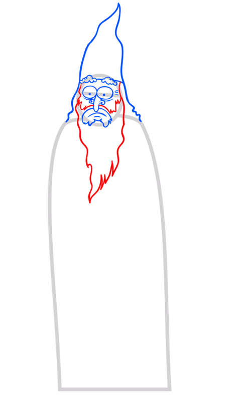 Learn easy to draw how to draw a wizard drawing step 05
