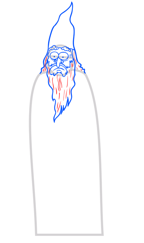 Learn easy to draw how to draw a wizard drawing step 06