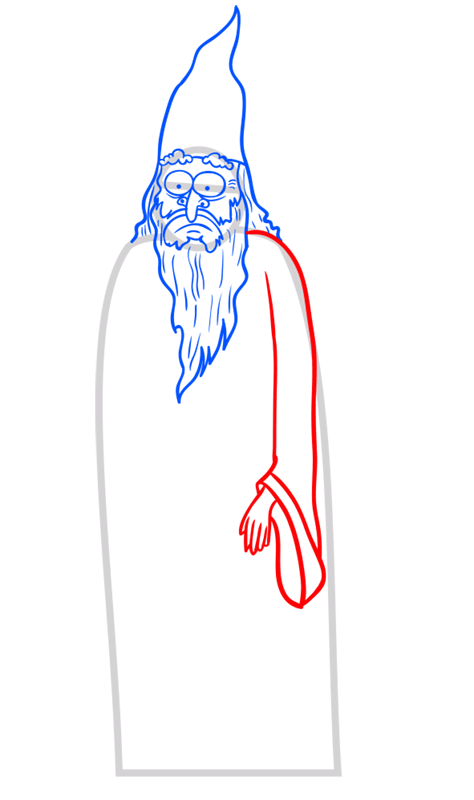 Learn easy to draw how to draw a wizard drawing step 07
