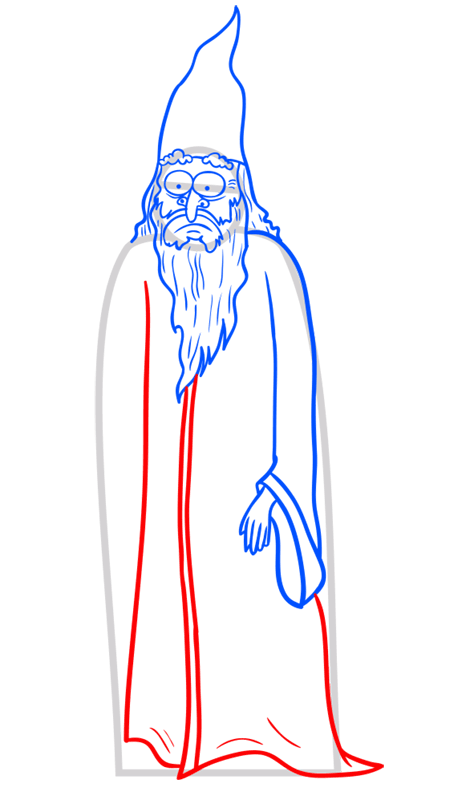 Learn easy to draw how to draw a wizard drawing step 08