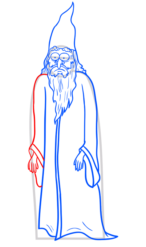 Learn easy to draw how to draw a wizard drawing step 09