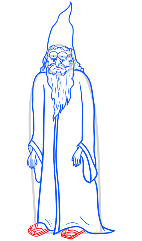 Learn easy to draw how to draw a wizard drawing step 10