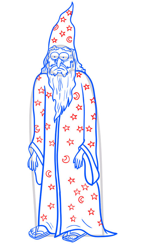 Learn easy to draw how to draw a wizard drawing step 11