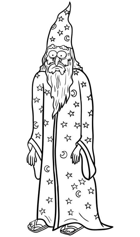 Learn easy to draw how to draw a wizard drawing step 12